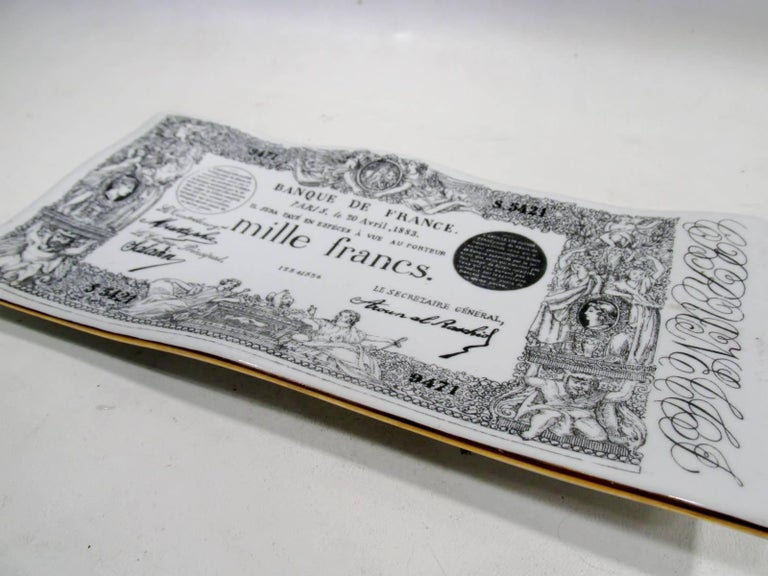 Early Piero Fornasetti Ceramic Mille Francs Vide Poche Tray 2