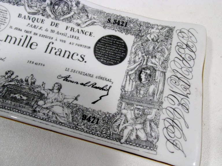 Early Piero Fornasetti Ceramic Mille Francs Vide Poche Tray 5