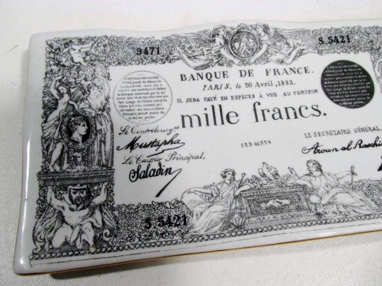 Early Piero Fornasetti Ceramic Mille Francs Vide Poche Tray 4