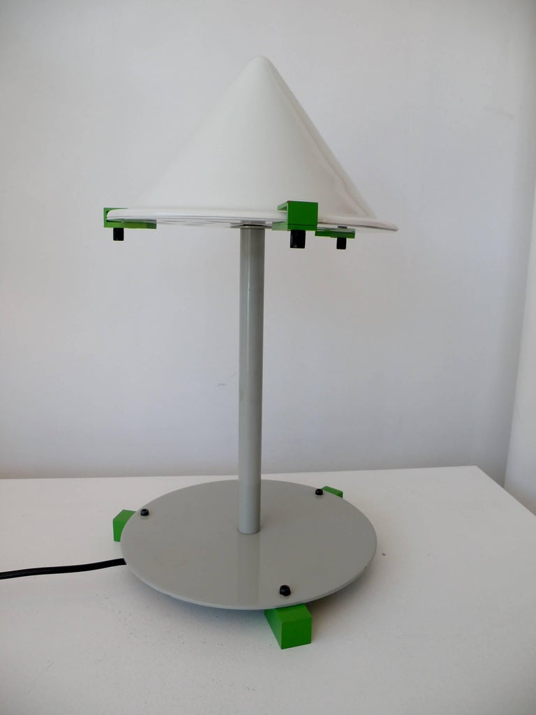 "A finely crafted table or desk lamp from the ""Electronic Age"" series of Postmodern Memphis objects designed and produced by George J. Sowden."