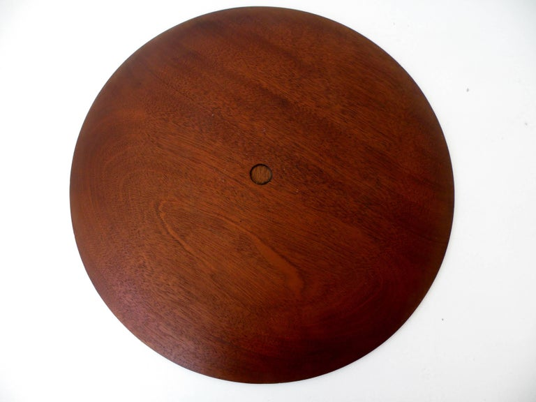 20th Century Paul Evans Phillip Lloyd Powell Stainless Steel Walnut Charger For Sale