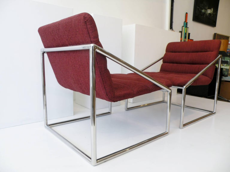 Mid-Century Modern Chrome Cube Sling Club Lounge Chairs, circa 1970s In Good Condition For Sale In Denver, CO