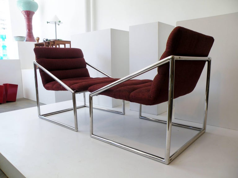 Unknown Mid-Century Modern Chrome Cube Sling Club Lounge Chairs, circa 1970s For Sale