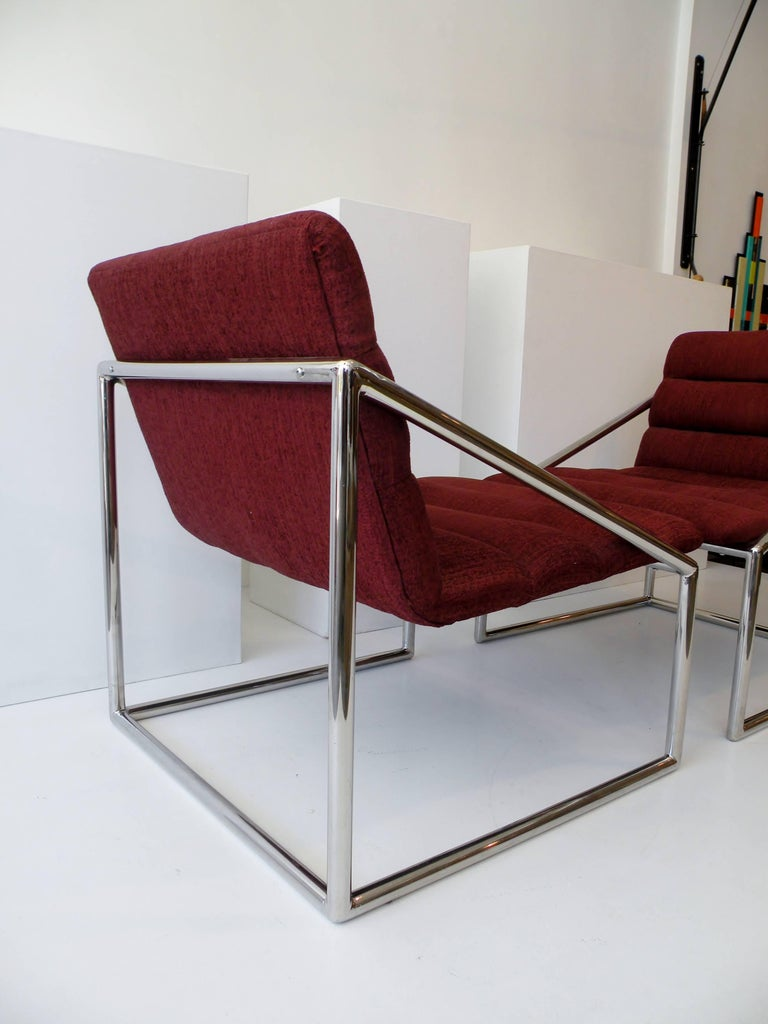 Mid-Century Modern Chrome Cube Sling Club Lounge Chairs, circa 1970s For Sale 3