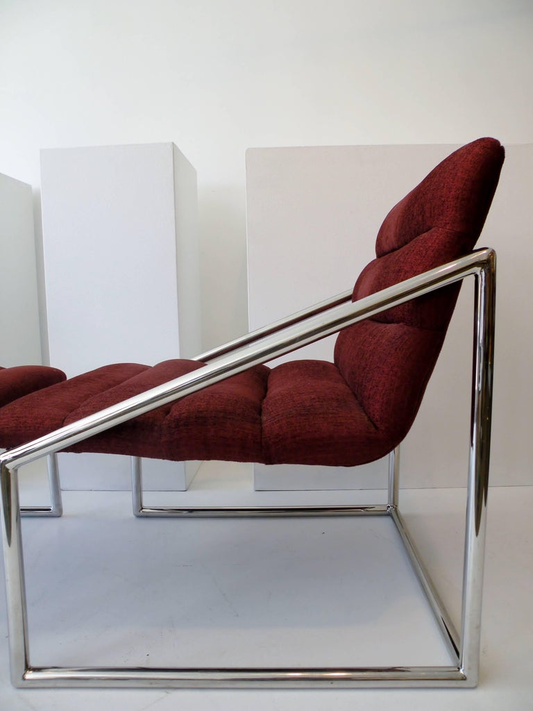 Mid-Century Modern Chrome Cube Sling Club Lounge Chairs, circa 1970s For Sale 1