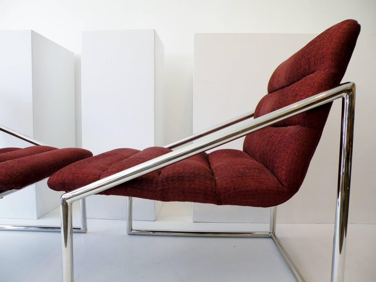 Mid-Century Modern Chrome Cube Sling Club Lounge Chairs, circa 1970s For Sale 2