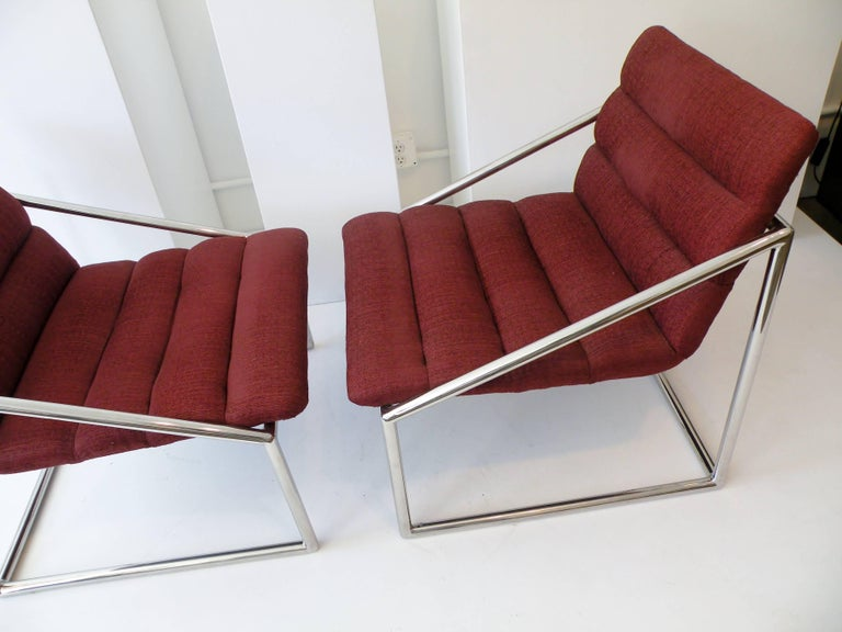 Late 20th Century Mid-Century Modern Chrome Cube Sling Club Lounge Chairs, circa 1970s For Sale