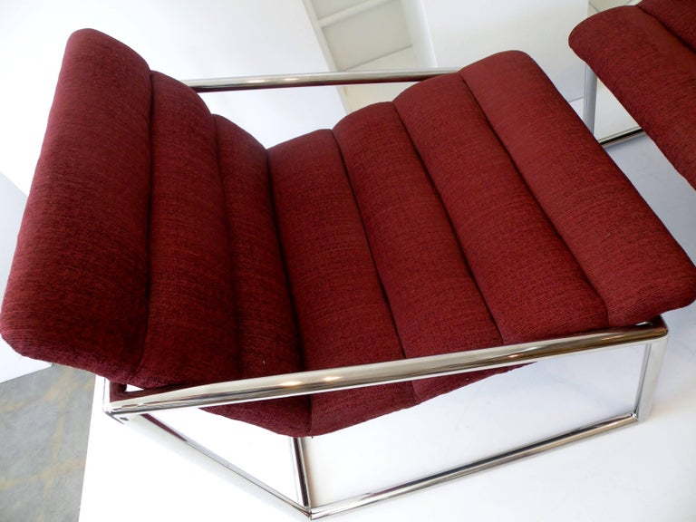 Mid-Century Modern Chrome Cube Sling Club Lounge Chairs, circa 1970s For Sale 4