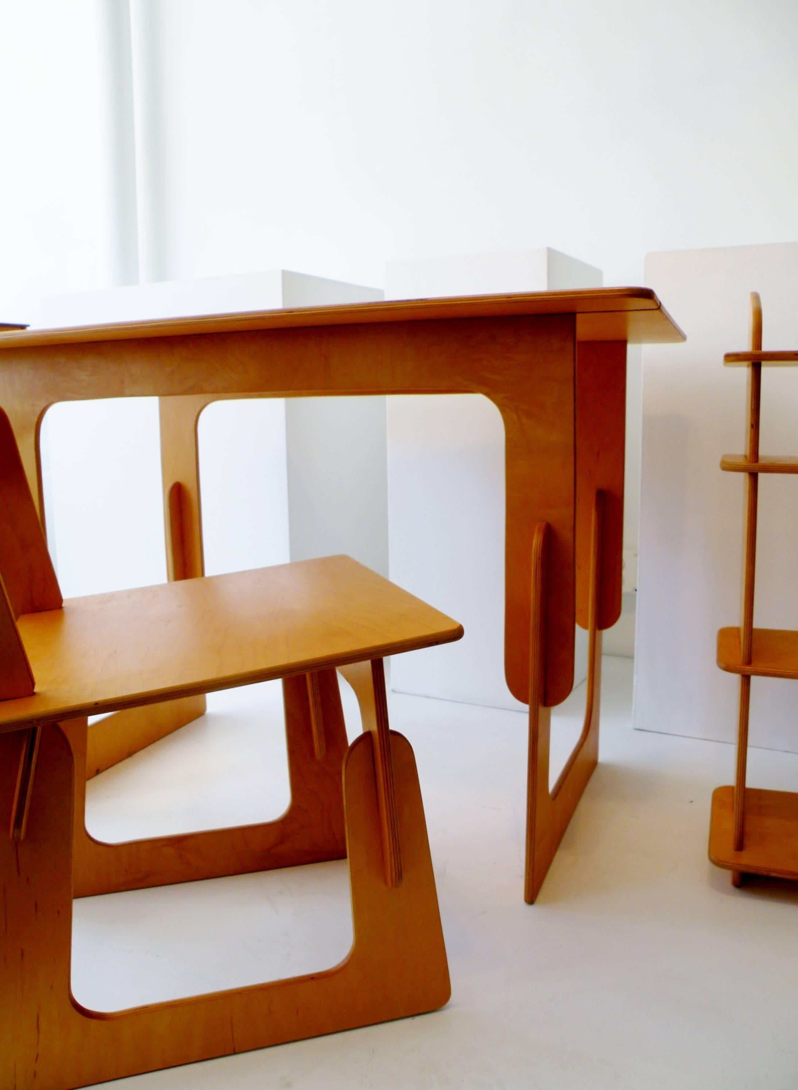 Gentil Organic Modern Post War Knockdown Furniture Co, Plywood Three Piece Office  Desk Set For