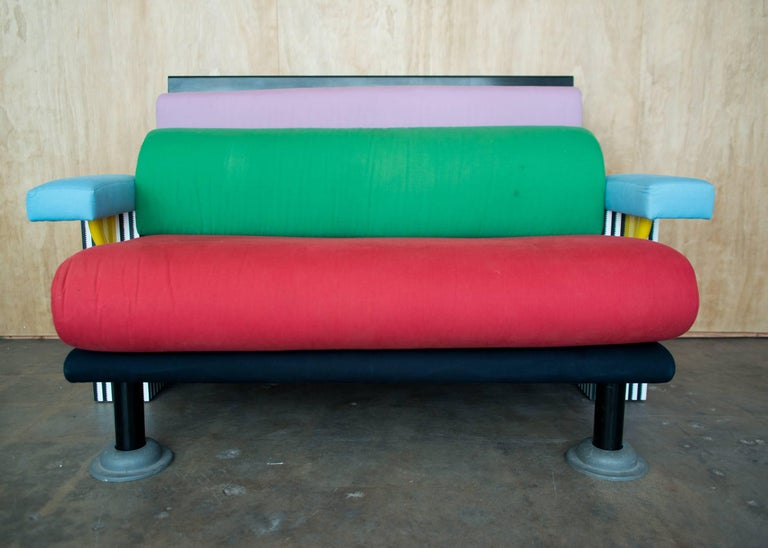 """""""Lido"""" sofa or settee designed by Michele de Lucchi in 1928 and manufactured by Memphis, Italy. Clean original cotton upholstery and lacquered wood in very good lightly used condition."""