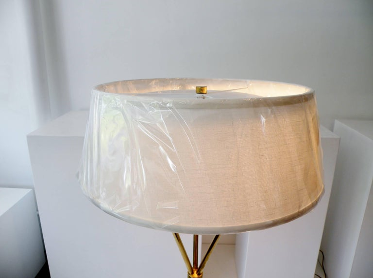 Mid-Century Modern T.H. Robsjohn-Gibbings Paul Hansen NY Brass Tripod Floor Lamp For Sale