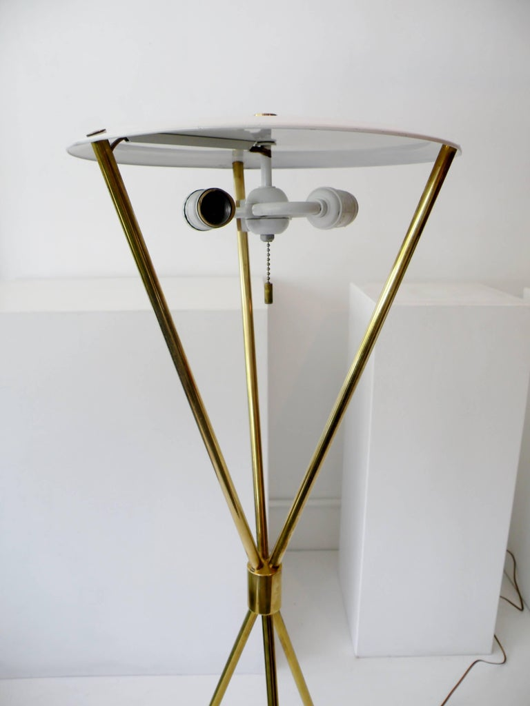 T.H. Robsjohn-Gibbings Paul Hansen NY Brass Tripod Floor Lamp For Sale 3
