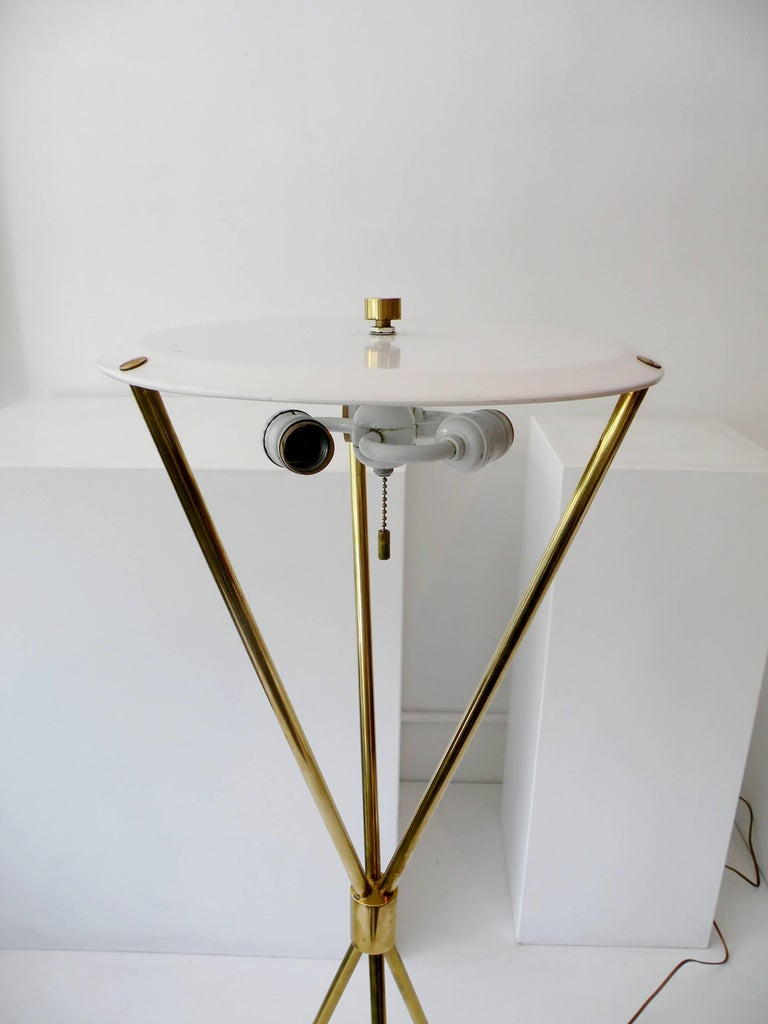 T.H. Robsjohn-Gibbings Paul Hansen NY Brass Tripod Floor Lamp For Sale 4