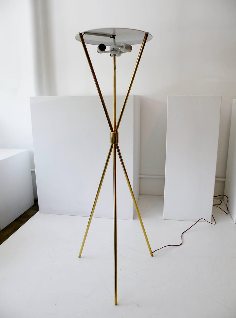 T.H. Robsjohn-Gibbings Paul Hansen NY Brass Tripod Floor Lamp For Sale 5