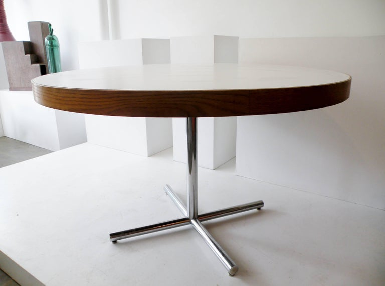 Late 20th Century Dining Table Chrome Teak For Sale