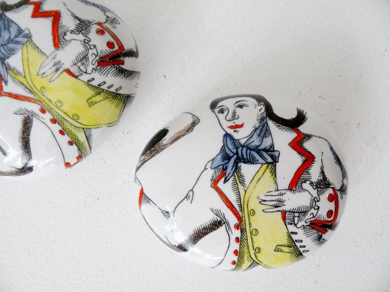 A pair of matching 1950s era Piero Fornasetti Italy porcelain