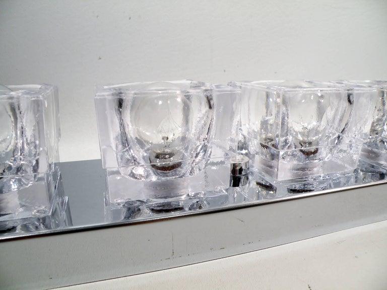 American 1960s Gaetano Sciolari Six-Light Crystal Cube Flush Mount Strip Lamp For Sale