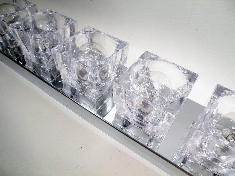 1960s Gaetano Sciolari Six-Light Crystal Cube Flush Mount Strip Lamp For Sale 1