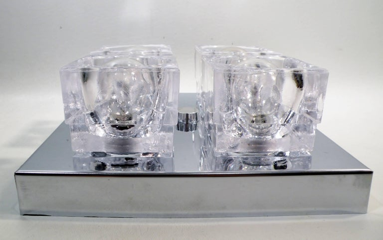 American 1960s Gaetano Sciolari Four-Light Crystal Cube Flush Mount Lamp For Sale