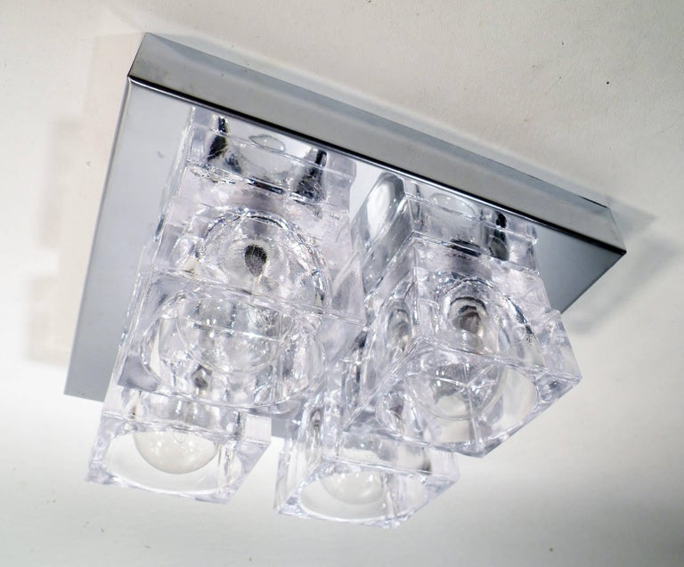 1960s Gaetano Sciolari Four-Light Crystal Cube Flush Mount Lamp For Sale 4