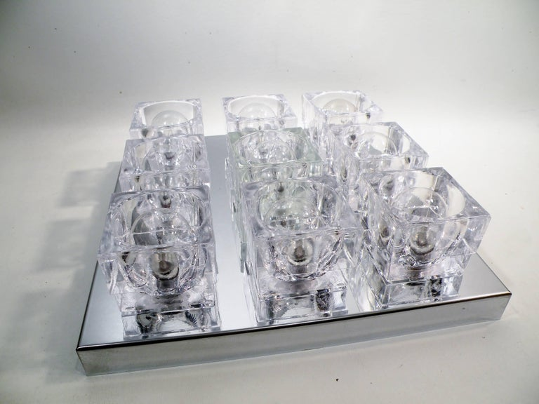 Hollywood Regency 1960s Gaetano Sciolari Nine-Light Crystal Cube Flush Mount Lamp For Sale