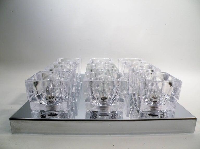 American 1960s Gaetano Sciolari Nine-Light Crystal Cube Flush Mount Lamp For Sale
