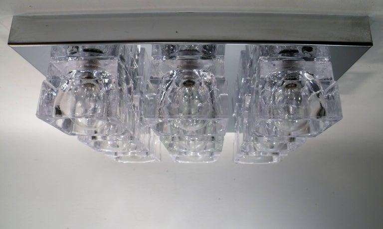 1960s Gaetano Sciolari Nine-Light Crystal Cube Flush Mount Lamp In Excellent Condition For Sale In Denver, CO