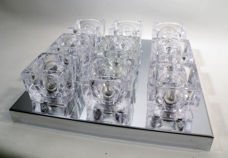 1960s Gaetano Sciolari Nine-Light Crystal Cube Flush Mount Lamp For Sale 1