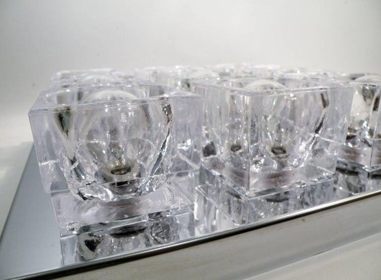 1960s Gaetano Sciolari Nine-Light Crystal Cube Flush Mount Lamp For Sale 3