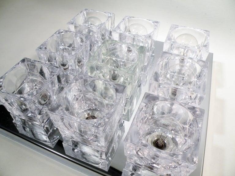 1960s Gaetano Sciolari Nine-Light Crystal Cube Flush Mount Lamp For Sale 4