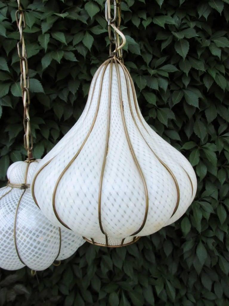 Blown Glass Midcentury Feldman Triple Pendant Italian Caged Latticino Glass Chandelier Lamp For Sale