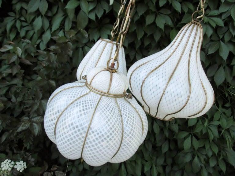 Midcentury Feldman Triple Pendant Italian Caged Latticino Glass Chandelier Lamp For Sale 3