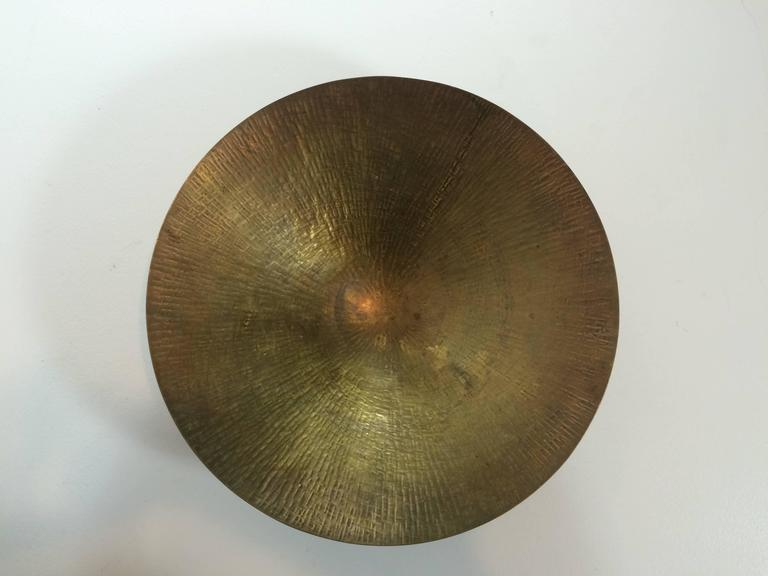 "Bauhaus Hayno Focken Hammered Brass Dish ""934"" 1930s For Sale"