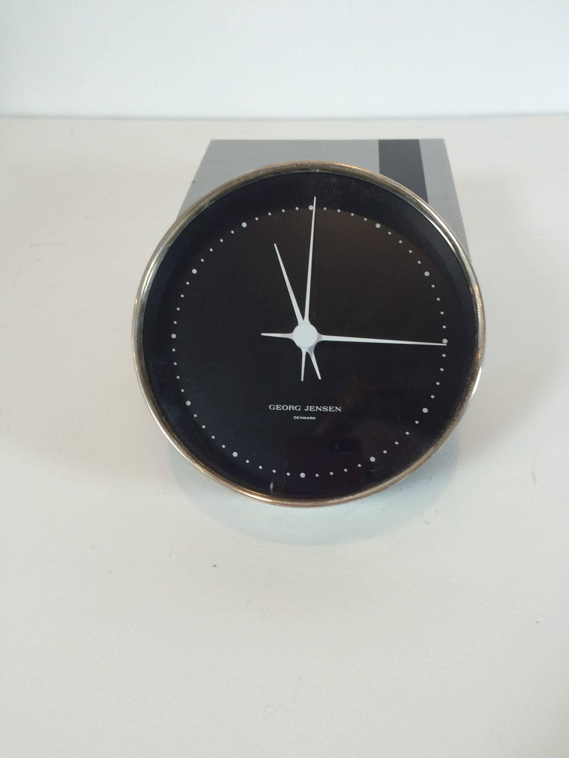 georg jensen sterling silver wall clock dead stock in box for sale at 1stdibs. Black Bedroom Furniture Sets. Home Design Ideas