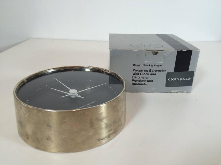 Danish Georg Jensen Sterling Silver Wall Clock Dead Stock in Box For Sale