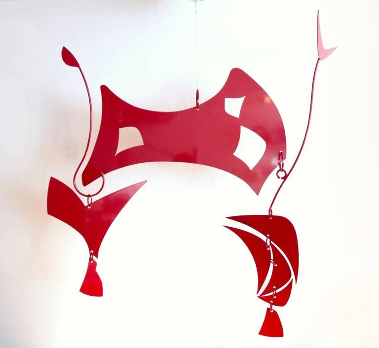 Large, powder coated aluminium hanging sculpture titled