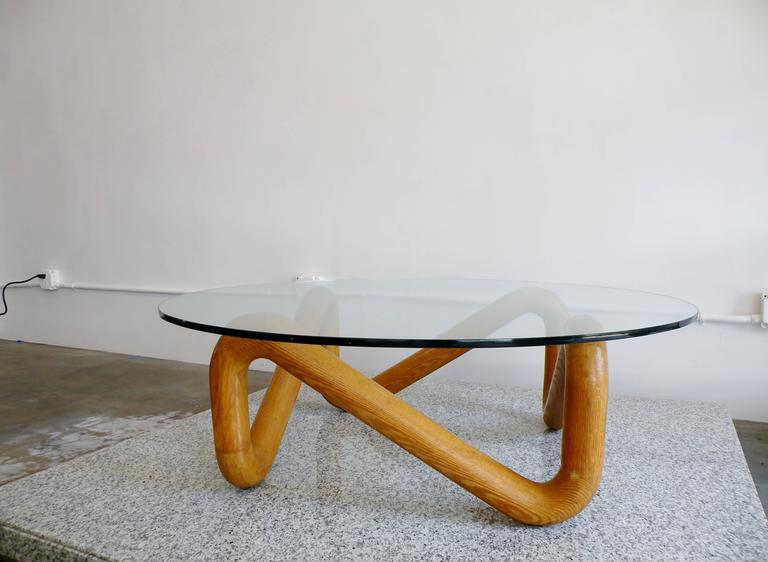 Mid-Century Modern Harvey Probber Mid-Century Sculpted Oak and Glass Coffee Cocktail Table For Sale