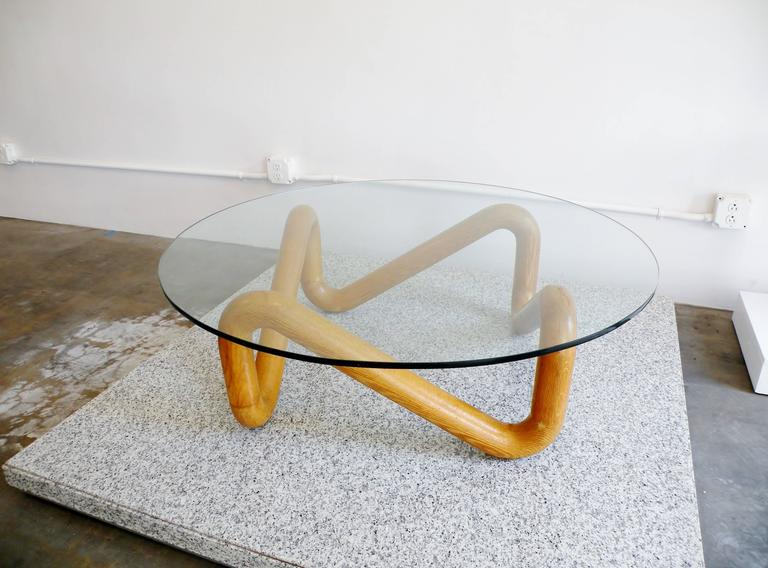 Harvey Probber Mid-Century Sculpted Oak and Glass Coffee Cocktail Table In Good Condition For Sale In Denver, CO