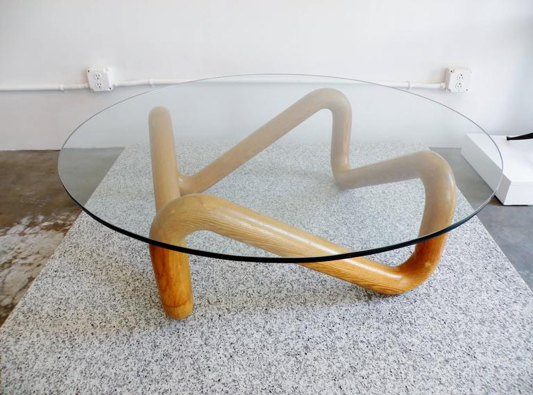 Harvey Probber Mid-Century Sculpted Oak and Glass Coffee Cocktail Table For Sale 1
