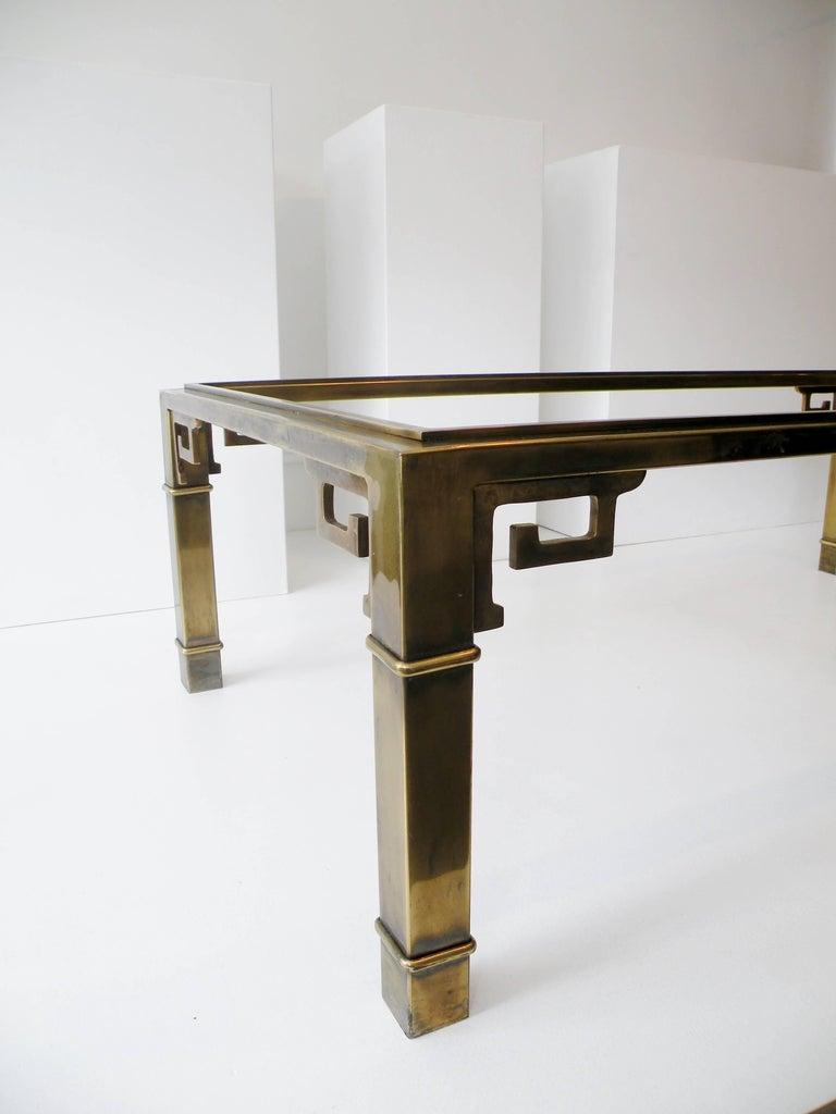 Mid-Century Modern Mid-Century Mastercraft Greek Key Brass Rectangular Coffee Cocktail Table For Sale