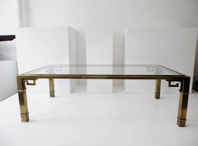 American Mid-Century Mastercraft Greek Key Brass Rectangular Coffee Cocktail Table For Sale
