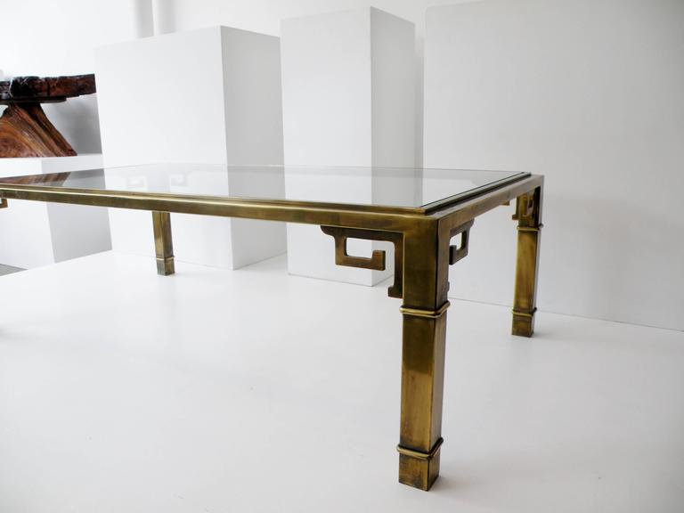Patinated Mid-Century Mastercraft Greek Key Brass Rectangular Coffee Cocktail Table For Sale