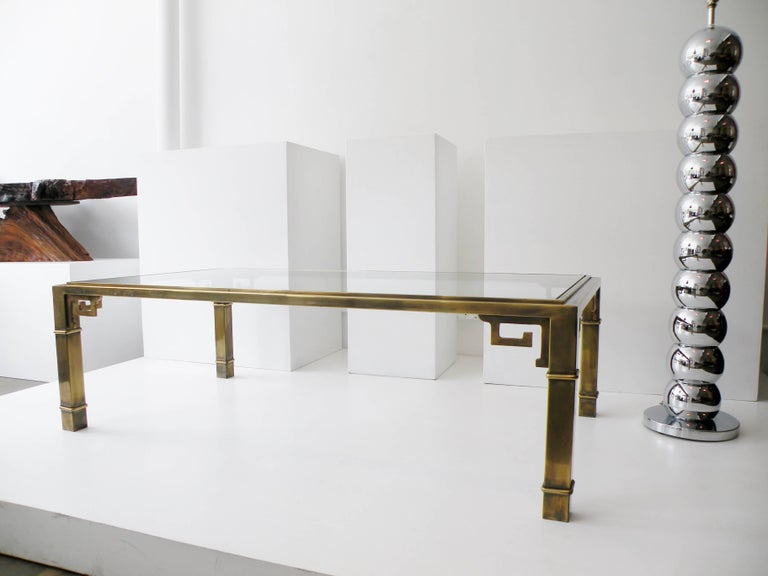 Mid-Century Mastercraft Greek Key Brass Rectangular Coffee Cocktail Table For Sale 1