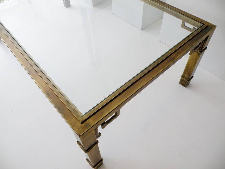 Mid-Century Mastercraft Greek Key Brass Rectangular Coffee Cocktail Table For Sale 2