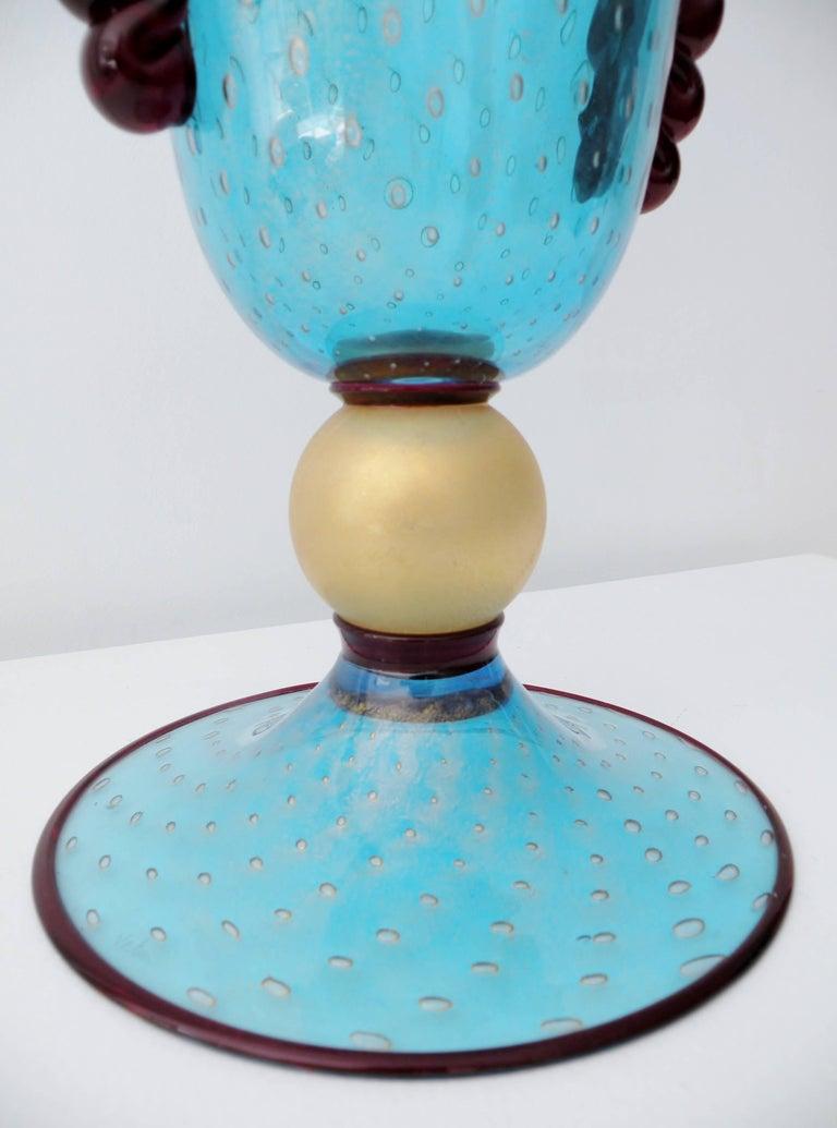 Monumental Vincenzo Nason Moretti Venetian Murano Glass Trumpet Vase For Sale 1