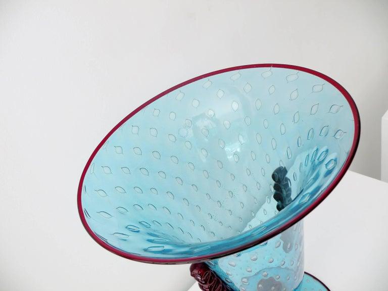 Monumental Vincenzo Nason Moretti Venetian Murano Glass Trumpet Vase For Sale 3