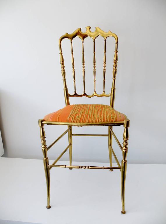 20th Century 1960s Italian Brass Midcentury Hollywood Regency Chiavari Chair For Sale