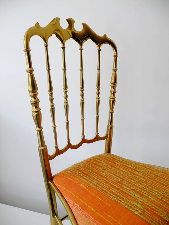 1960s Italian Brass Midcentury Hollywood Regency Chiavari Chair In Good Condition For Sale In Denver, CO