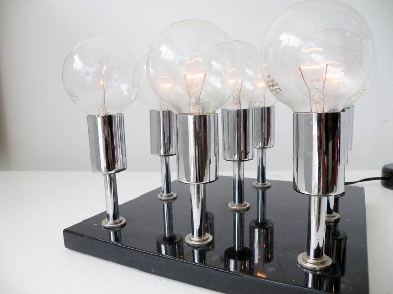 1960s Pop Art Italian Granite Chrome Sculptural Cluster Bulbs Table Lamp 5