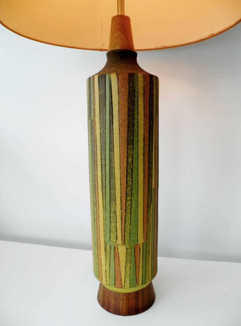 Monumental Italian art pottery table lamp from the